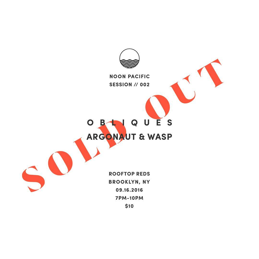 That was fast...sold out SESSION // 002 in less than 24 hours. See you Friday, Brooklyn