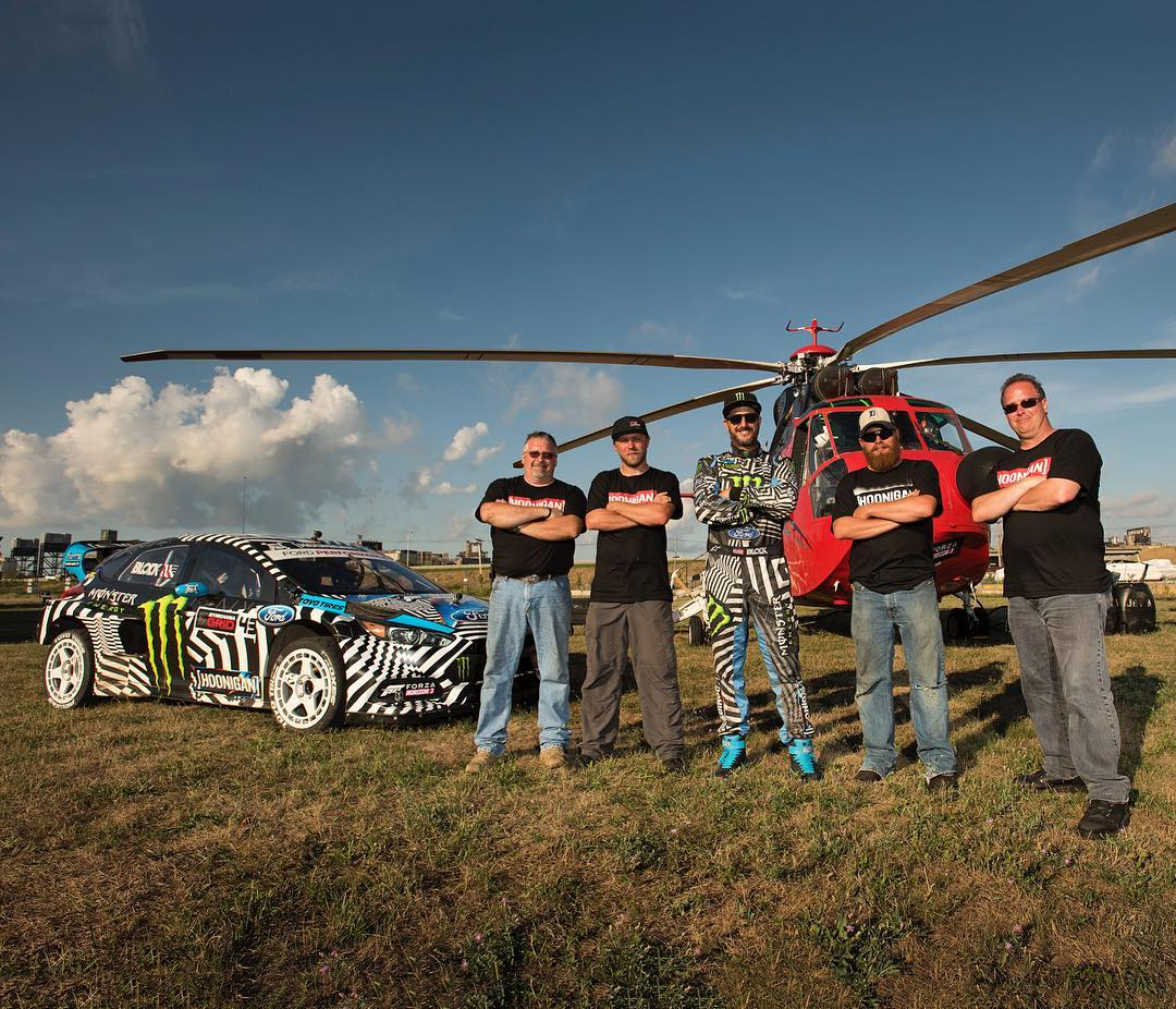Huge props (pun intended) to the helicopter crew from #GymkhanaNINE. The pilot (on my right) was swinging around over 5000lbs worth of 2017 Ford Raptor in high winds like it was just another day on the job… that was WILD to watch! Big thanks to all...