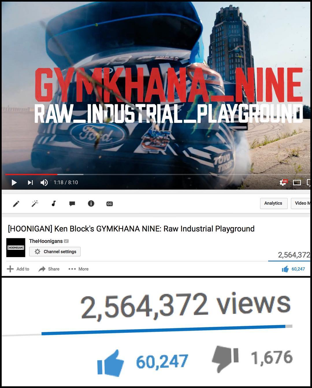 2.5 MILLION views in 24 hours for #GymkhanaNINE! A big thank-you to everyone for watching and sharing the video - YOU fans make these videos possible. If you haven't seen it (or just want to watch it again), hit the link in my profile! #bestfans