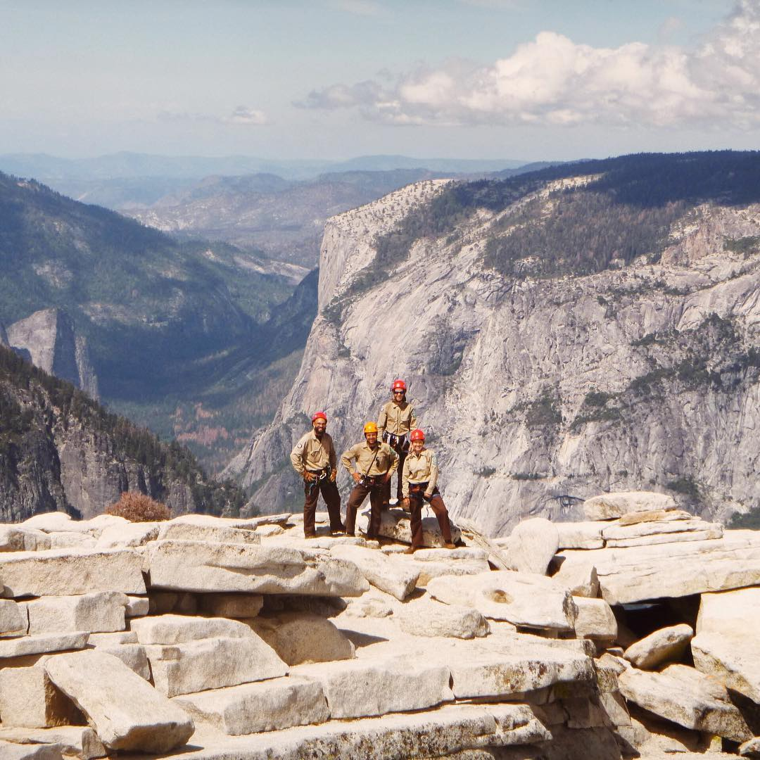 "UNSUNG HEROES ""Hard work, low pay, miserable conditions... And more!"" The California Conservation Corps do the heavy lifting to help keep our parks in top shape. From 8,839ft, they're installing cables on Half Dome for our climbers...."