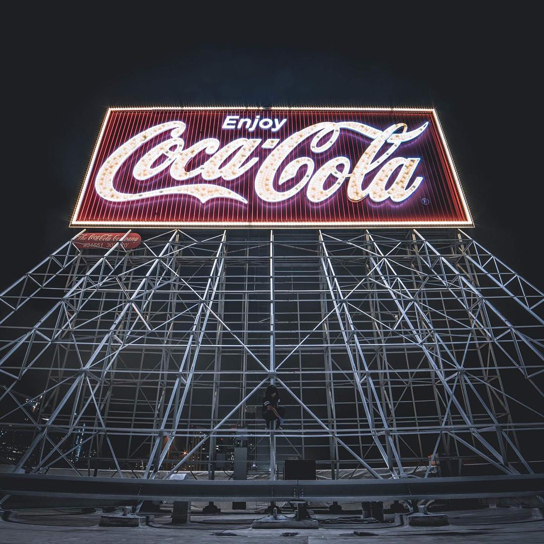 Winner number 2 of our #threebaggiveaway is @banannaxp.nef with this dramatic shot of the old Coca Cola sign in San Francisco. Composition and exposure are absolutely dialed in on this one! This old sign is a thing of beauty through the right pair of...