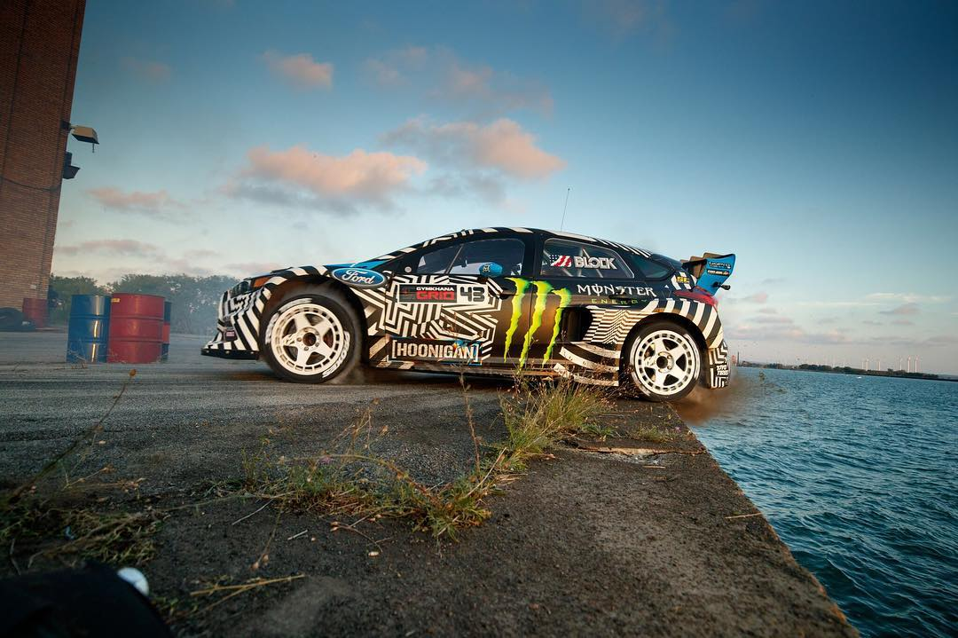 Another angle from @kblock43's gnarly tire drop in #GymkhanaNINE! Photo by @larry_chen_foto.
