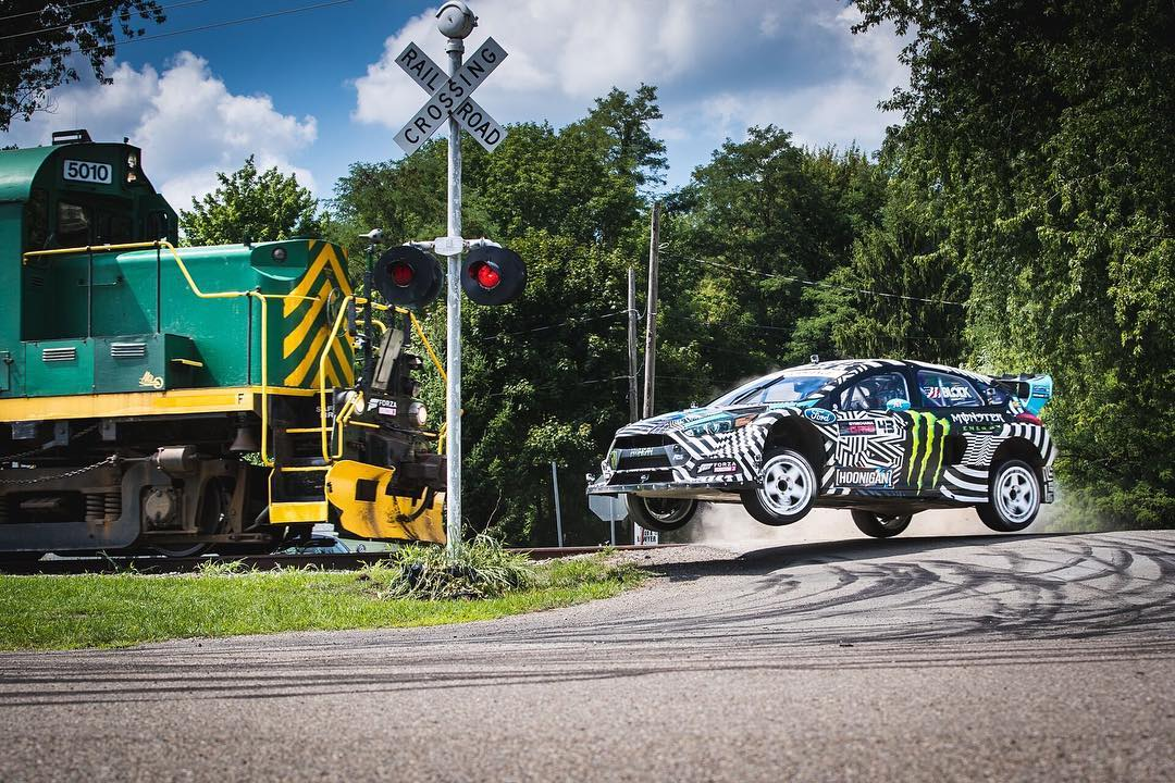 Flat out, over crest… with a train speeding ahead. #GymkhanaNINE (link in bio)