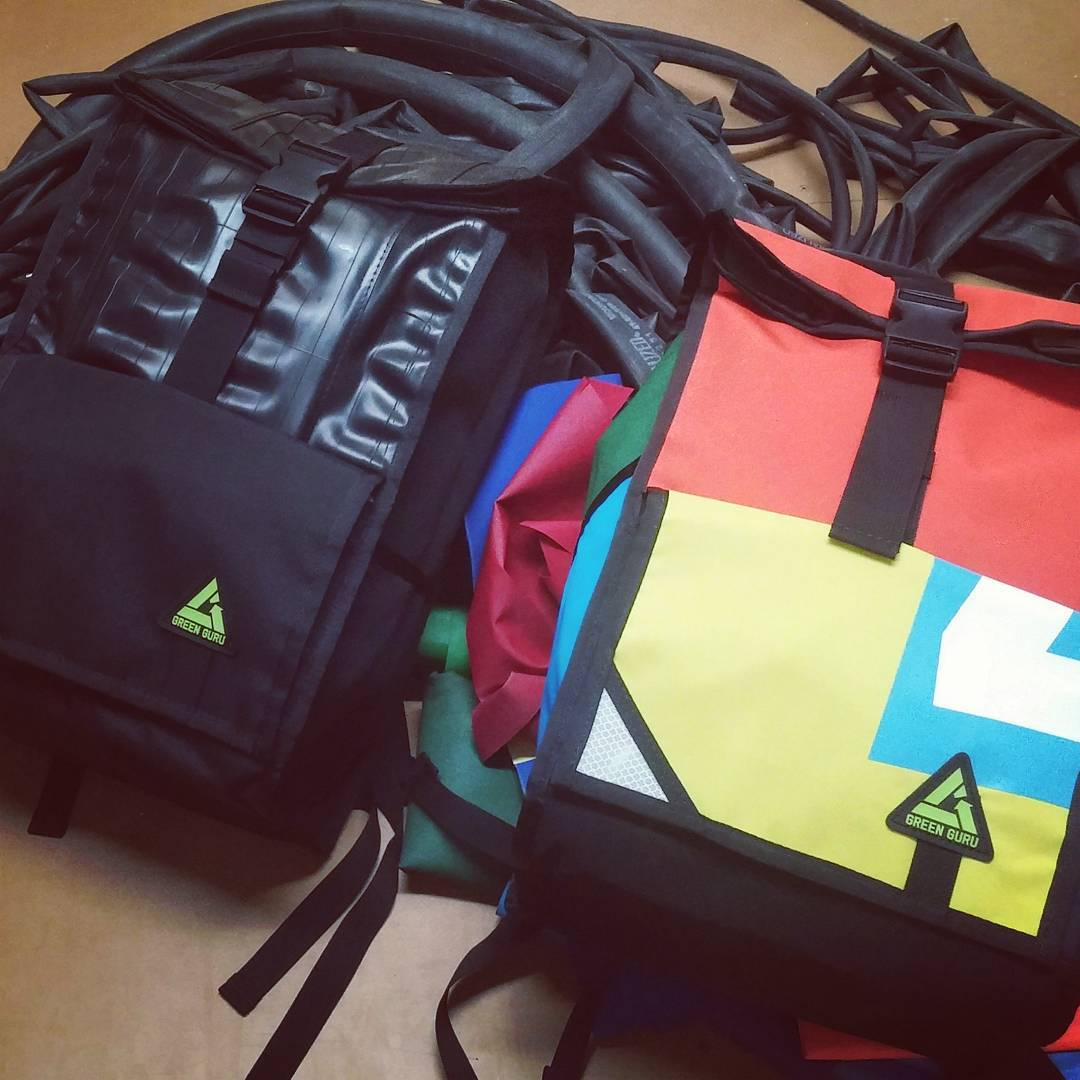 Bags made of #bike tubes and #upcycled #tent fabric #madeinusa #colorado #boulder