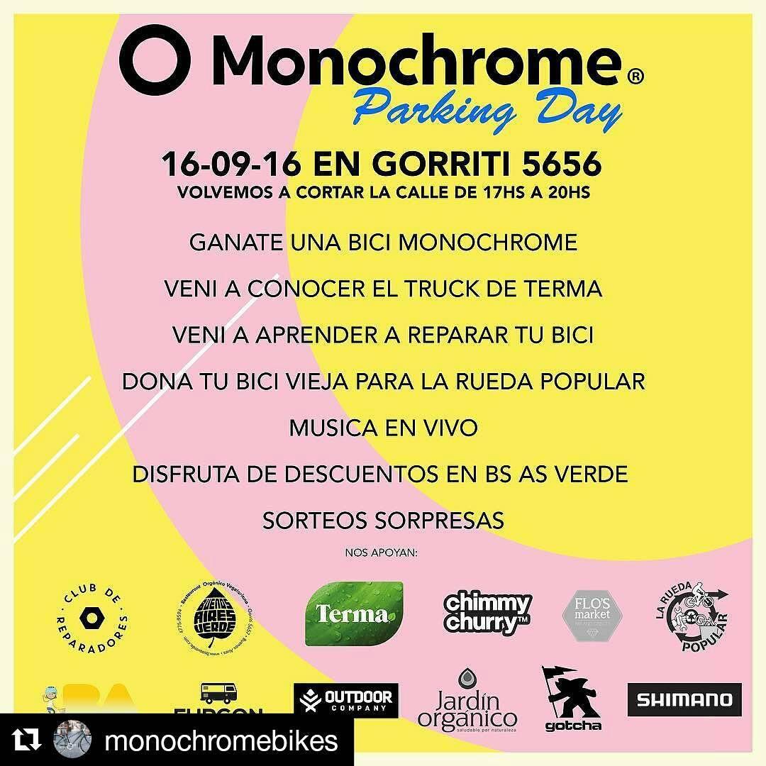 #Repost @monochromebikes ・・・ Parking Day!!!! Imperdible este viernes!!!! Te podes ganar una bici Monochrome!!!! Enterate mas en nuestra web!!!! #ilovemymonochrome #monochromebikes #buenosairesciudad #parkingdaymonochrome #ecobici @baecobici
