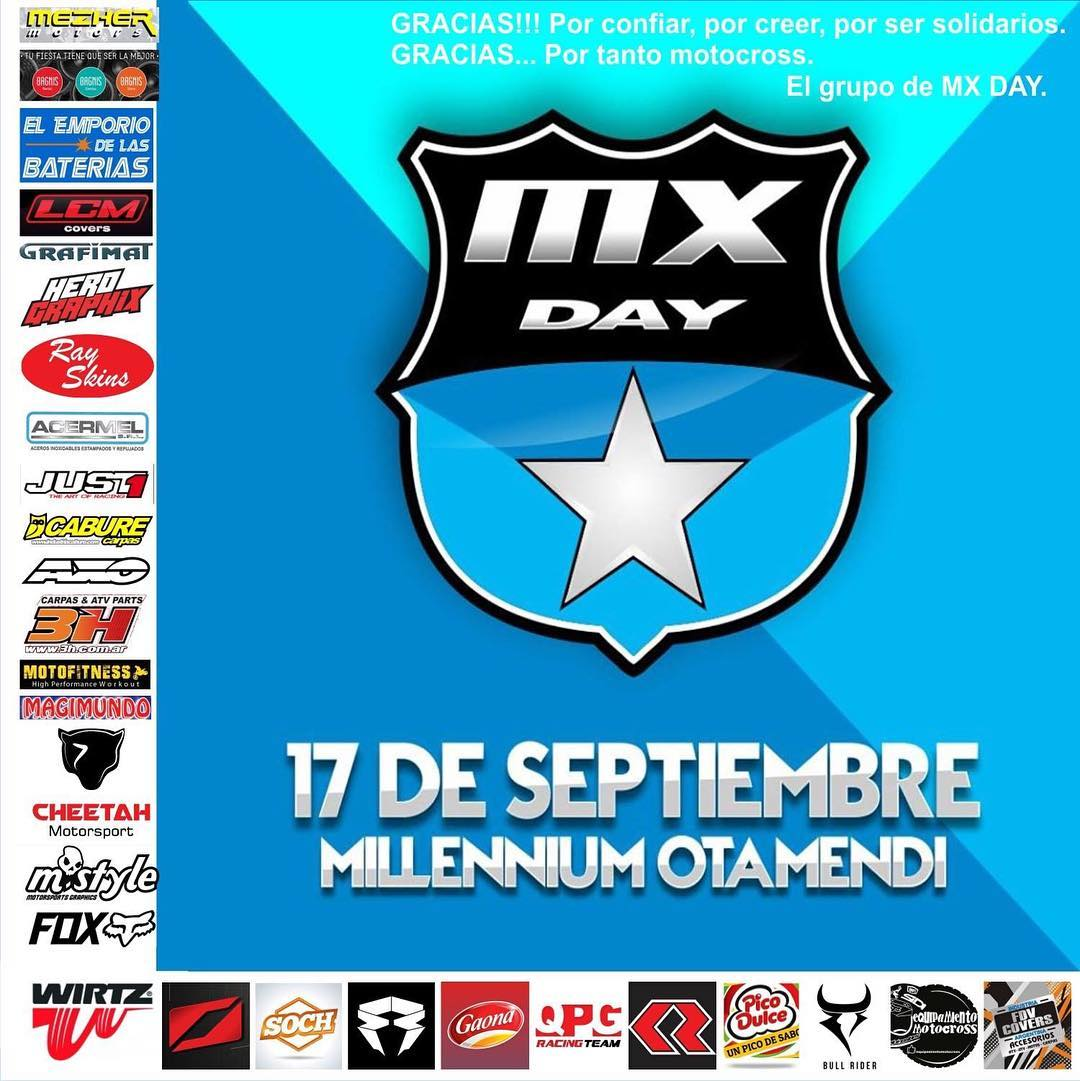 >> Presentes en el MX DAY << ¿De qué se trata este evento? Un día a pura moto (podes ir con la tuya o alquilar una ahí), con charlas técnicas, practica en pista y demostraciones de PRO riders. Todo a favor de los chicos que tuvieron accidentes...