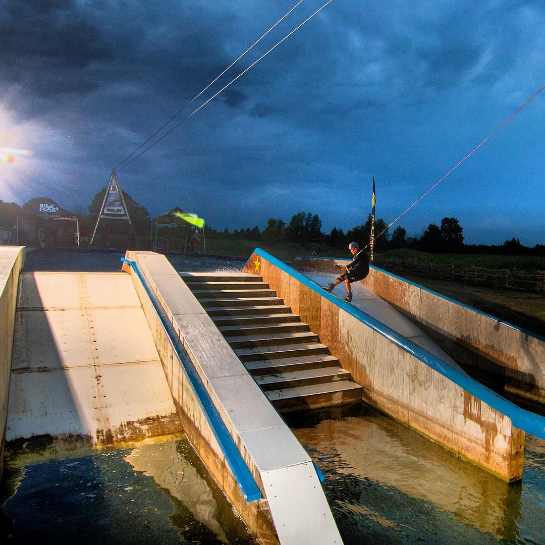 @clayton_underwood going down while up north at @windmill_lake  #wakeboarding