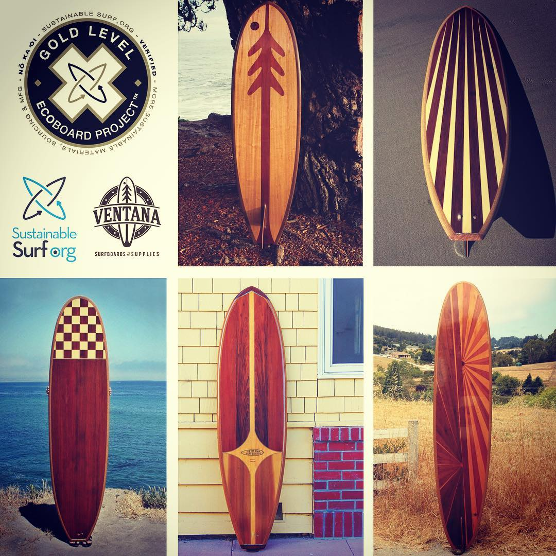 Not all #surfboards can claim to be surfable works of art... All of @ventanasurfboards hollow #reclaimed wooden surfboards certainly can! AND guess what? They now all carry the Gold Level #ECOBOARDProject designation! ♻️