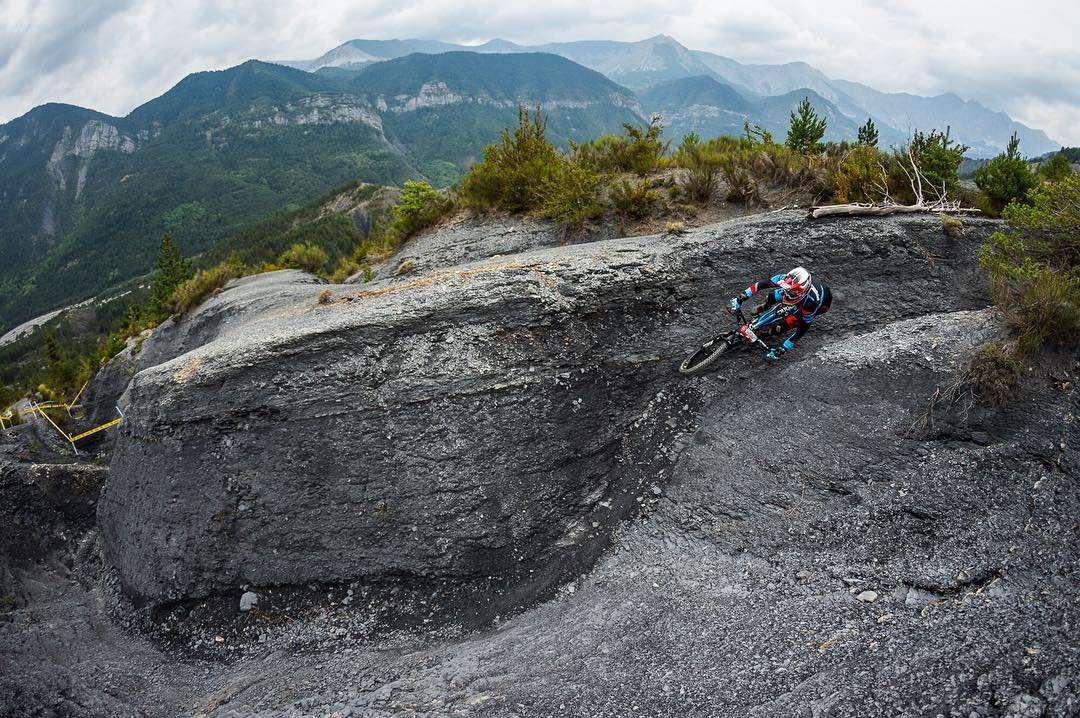 Riders on course! We're excited to see Team Lapierre Gravity Republic riders back in action at the Enduro World Series  #EWSValberg this weekend! Adrien Dailly taking on a 'moonscape' wallride during practise. Photo Jérémie Reuiller - ILL Prod...