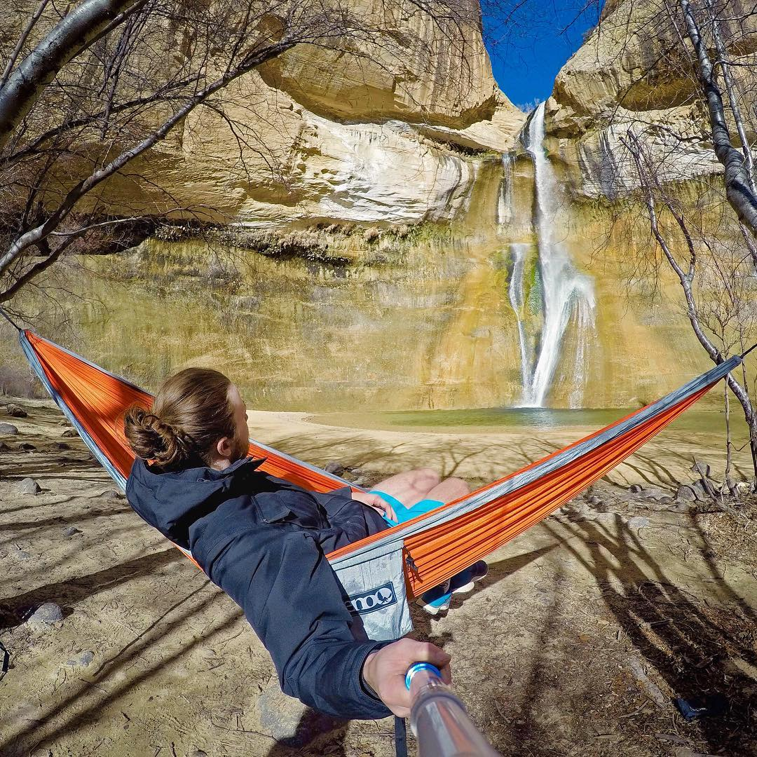 Find somewhere to relax this weekend. @danielbergey at Lower Calf Creek Falls in Utah. Shot with GoPro HERO4 & GoPole Reach. #gopro #gopole #gopolereach #waterfall #utah