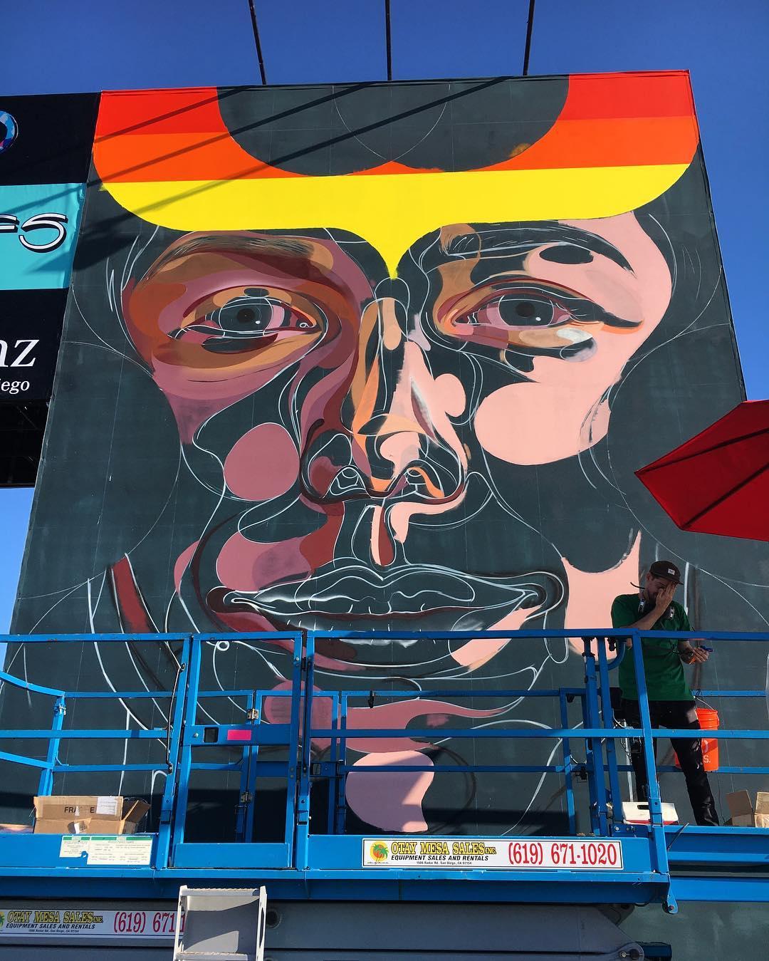 @vanstheomega live at @kaaboodelmar #kaabooartwork • • #California #Spratx #vanstheomega #liveart #art #mural #music #kaaboodelmar