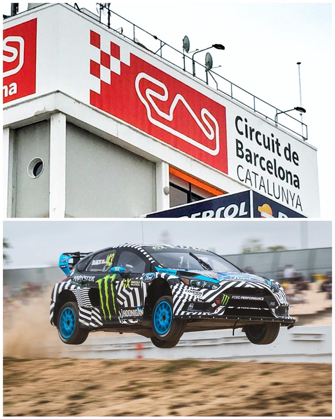 Hola, Barcelona! Out here at Circuit de Catalunya this morning for round 9 of @FIAWorldRX. Started the morning off with some airtime and a side of gravel for breakfast during practice. Feels good to be back out on a racetrack with the Ford Focus RS RX....
