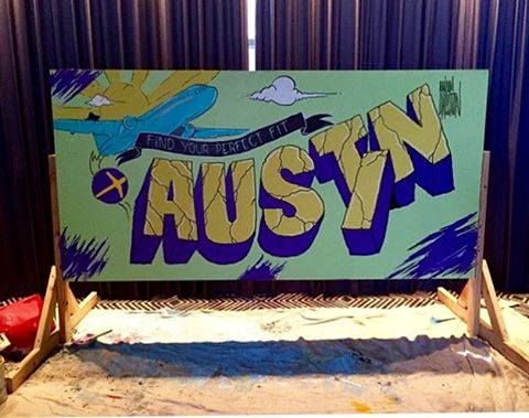 Final shot of live painting project done by local artist, @random.direction for @expedialovestexas • • #spratx #expedia #expedialovestexas #randomdirection #austin #atx #austintx #spraypaint