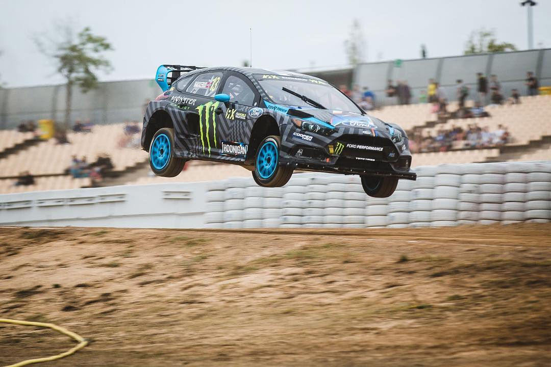 Hoonigan Racing team driver @andreasbakkerud shredding at #barcelonaRX! #neverlift