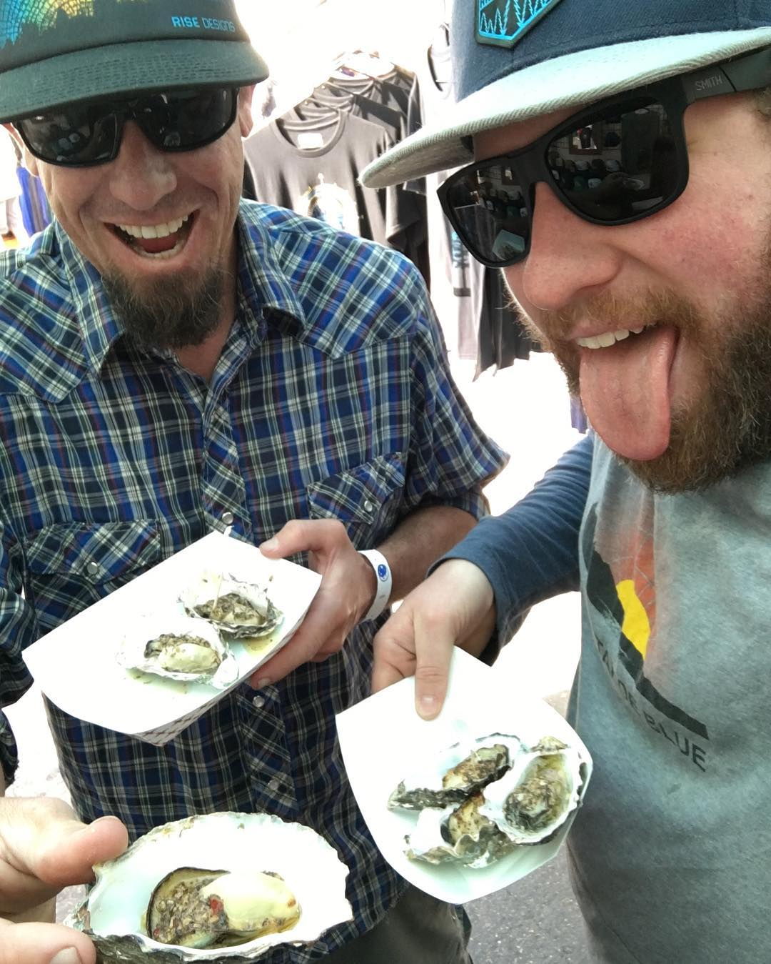 When we're by the coast, we have oysters for breakfast. So good. Come on down to the North Country Fair in Arcata, CA and hang with us! #risedesigns #risedesignstahoe #northcountryfair #roadtrip #year7! #riseguys