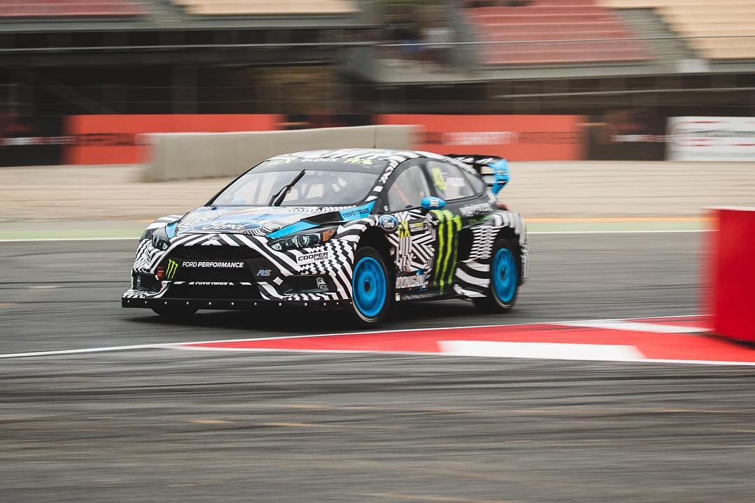 The @hooniganracing team hammering down at #BarcelonaRX! @fiaworldrx #focusrs