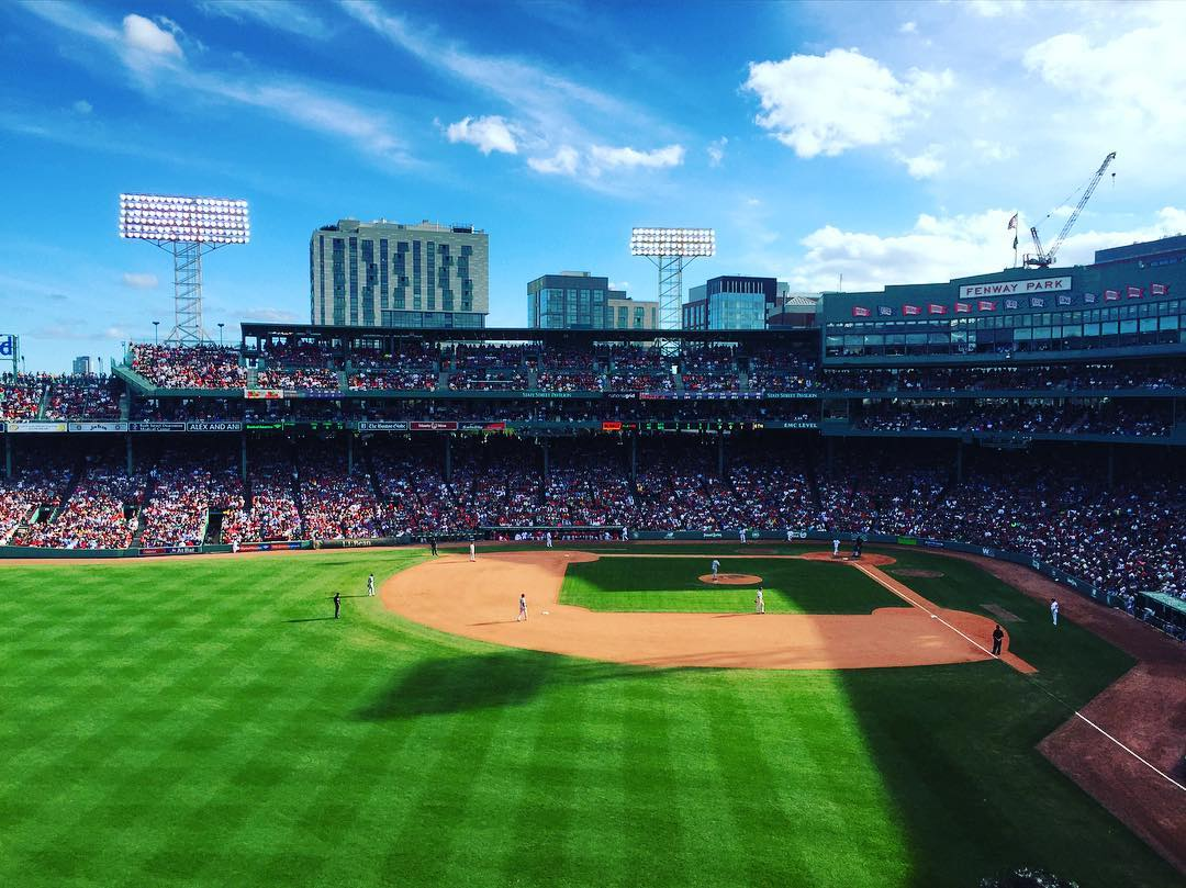 It was a beautiful day for some @redsox baseball on top of the Green Monster!  Awesome to be leading the division and looking forward to the playoffs this fall! #soxyanks #redsox #fenway #greenmonster #bostonlifeb