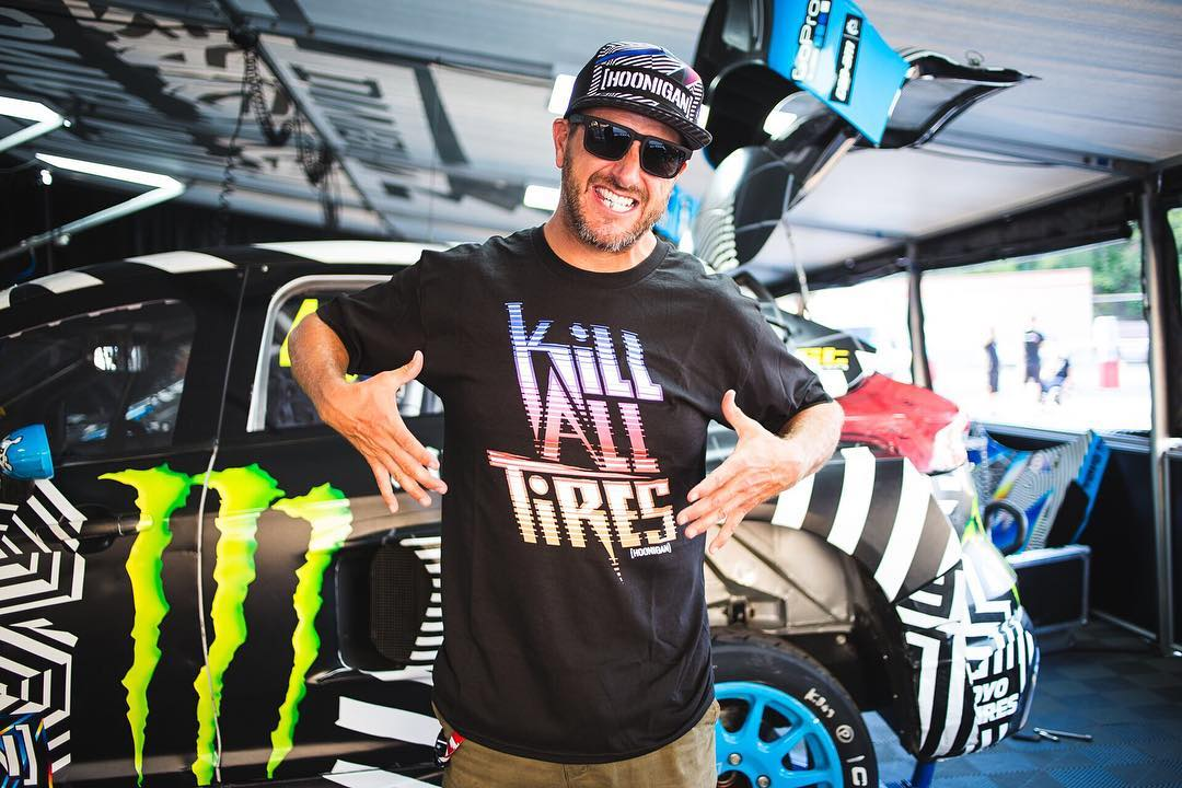 HHIC @kblock43 rocking the #GymkhanaNINE collection in the pits at #BarcelonaRX! Available now!