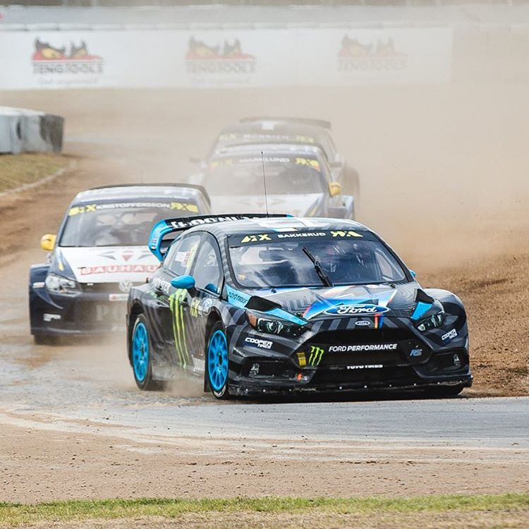 Hoonigan Racing team driver @andreasbakkerud wins his Q3 heat race at #barcelonaRX!