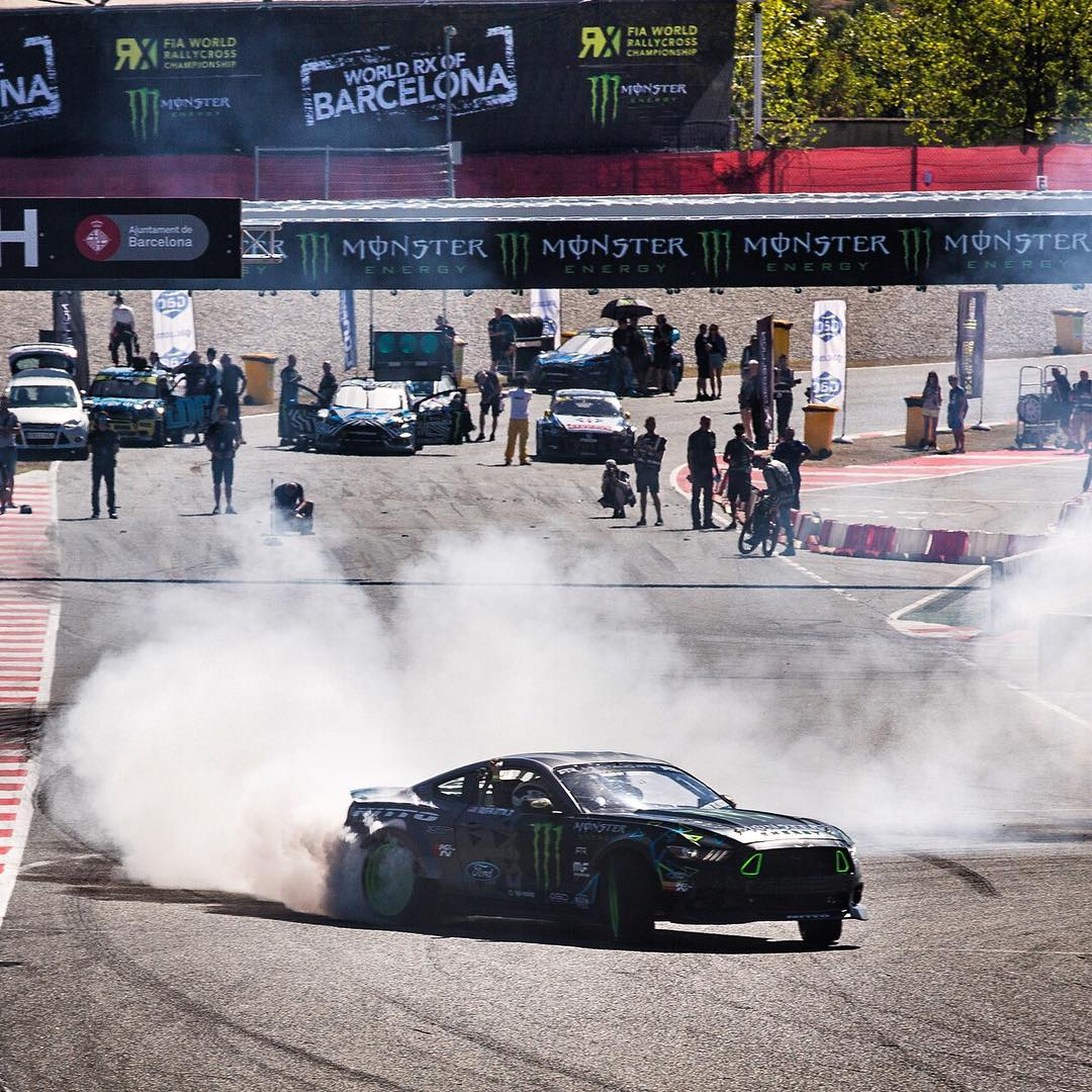 My buddy/fellow @MonsterEnergy athlete @VaughnGittinJr was back at it again in his 900hp Ford Mustang demo car, this time out here at #BarcelonaRX. He was throwing down some V8-motivated smoke clouds in between @FIAWorldRX qualifying races and Semi...