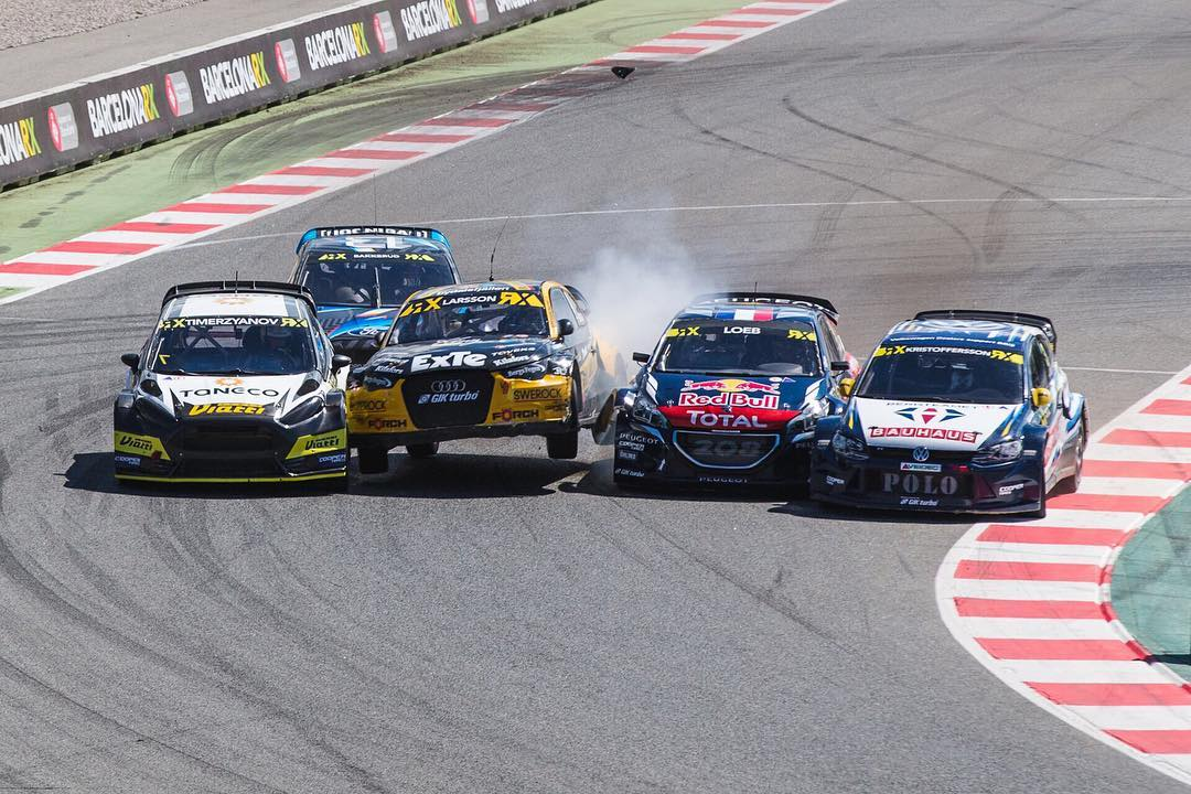 Caption this from #BarcelonaRX! #rubbingisracing