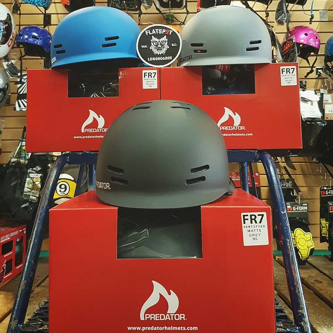@Regrann from @flatspotshop who just got a shipment of the goodness. Checkout the shop if you're in the lower mainland area or online too! -  #flatspotnewshipment of the classic @predatorhelmets #FR7, only available in cpsc certified model....
