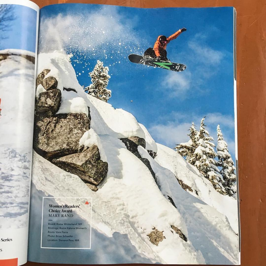 Huge congratulations to @bigairmare for landing her first full page shot! @twsnow has the goods and is on newsstands now. Rad