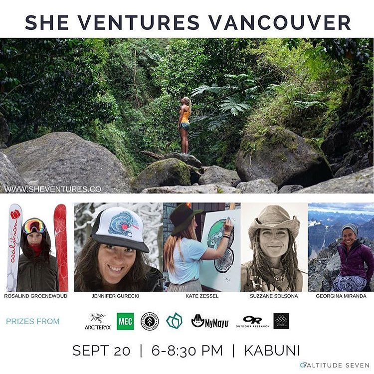 Tomorrow! You don't want to miss Sheventures #vancouver! • • Music, food, prizes and the lovelies: @gg_miranda of @altitudeseven, Kate of @katezessel, Pro skier @rozgroenewoud, Suzanne of @mymayuoutdoor, and of course @yogurecki our CEO!