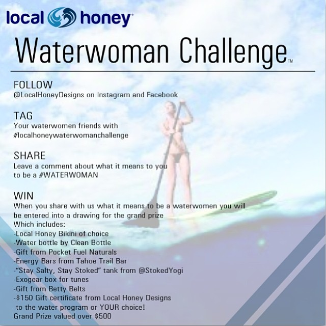 "Tag your waterwoman friends #localhoneywaterwomanchallenge and leave a comment on one of our #waterwoman posts for chance to win a prize featuring a Local Honey Bikini, water bottle from @CleanBottle, gift from @PocketfuelNaturals, ""Stay Salty, Stay..."