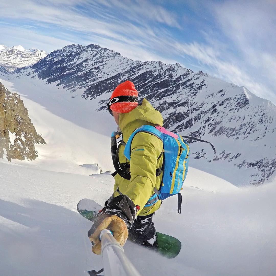 @philipshearer scoring fresh tracks in Alaska. Shot with GoPro HERO4 & GoPole Reach. #gopro #gopole #gopolereach #snowboarding #alaska