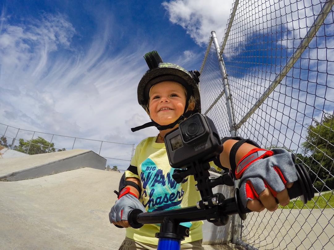 "Photo of the Day! ""GoPro, take a photo!"" We're all about starting them young...and with voice control, #HERO5 makes sharing your little rippers trip to the park easy! #GoPro #HERO5"