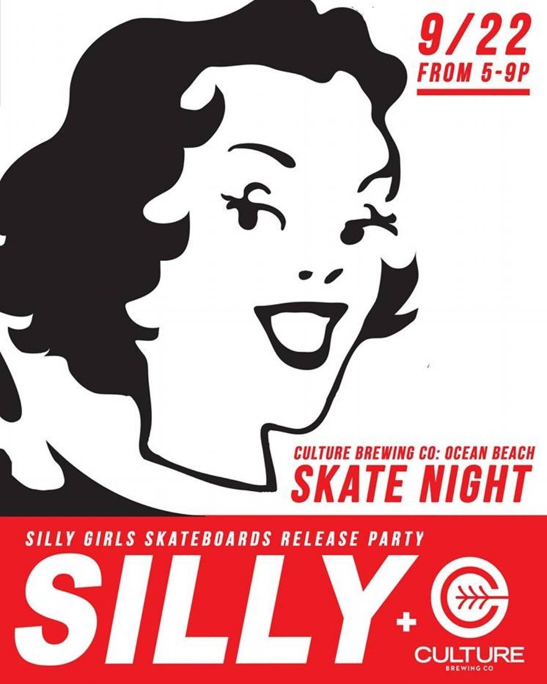 If you're in the area you may want to check this out on Thursday! Repost from @sillygirlskateboards | Skate Night! Come hang out with some of the crew on Thursday Sept. 22nd in Ocean Beach at the Culture Brewing Co - Ocean Beach​ Tasting Room from...