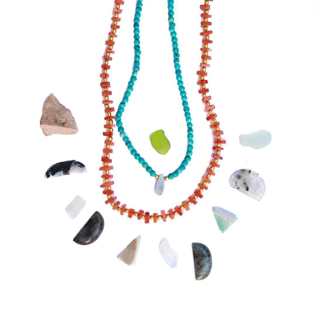 Carnelian Wrap Necklace alongside the gorgeous The Turquoise and Opal Necklace. Wear, share and enjoy the color!  #turquoise #carnelian #opals #boulderopal #australia #gemlove #gemstones #crystalgypsy #influencer #YogaStyle #YogaJewelry #ChakraHealing...