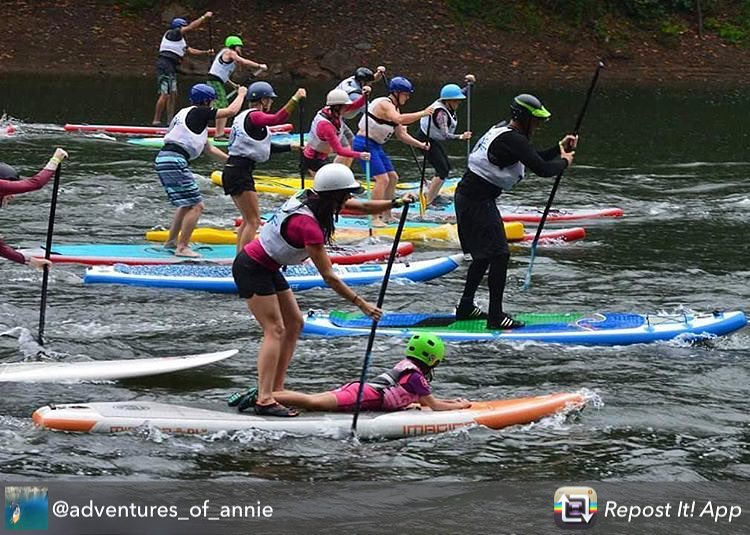 "Repost from @adventures_of_annie using @RepostRegramApp - ""Racing\"" with an extra fifty pounds doesn't help with speed, but it sure is fun bringing along your own cheerleader! I absolutely love attending the New River Gorge SUP race each year...."