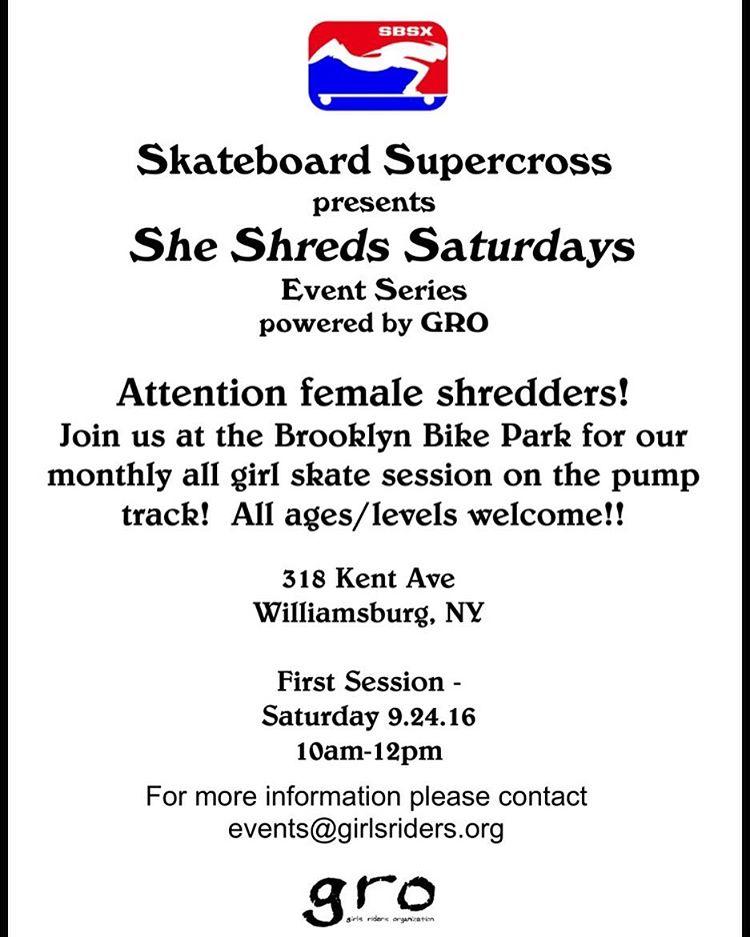She Shreds Saturdays start this Saturday @brooklynbikepark