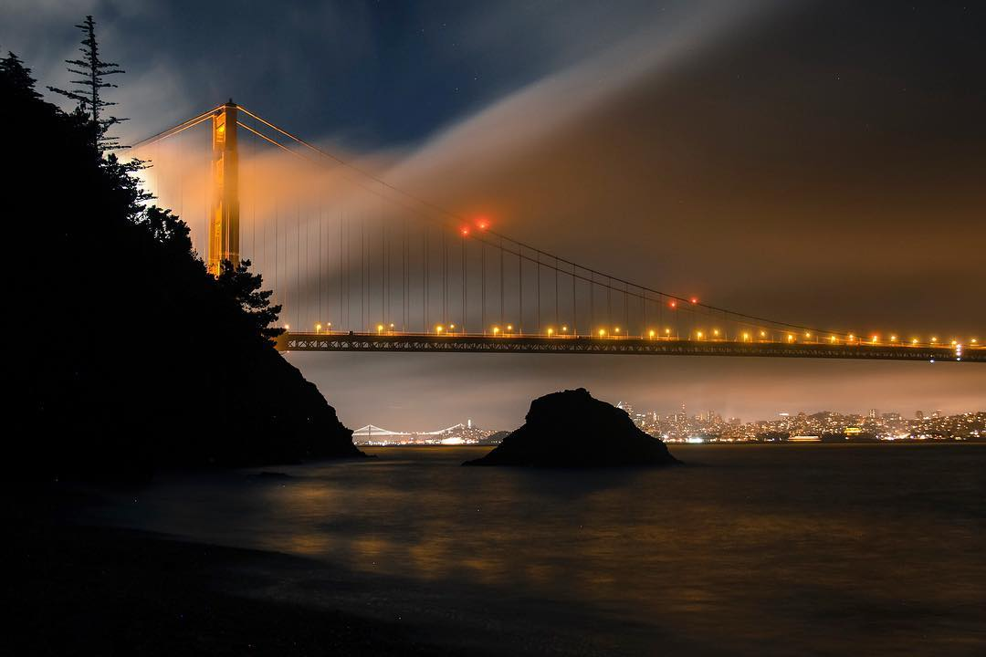 The fog, the Harvest Moon, and the Golden Gate put on a spectacular smoke and light show for us on Saturday night