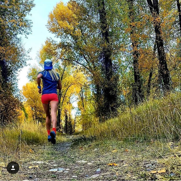 Badass ultra runner @merejune out for a tour through the fall colors of Jackson Hole, rocking the Spirit Trucker. #avalon7 #liveactivated #trailrunning #adventuregirl www.a-7.co