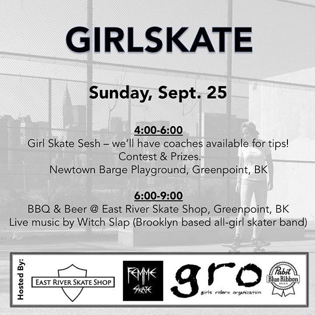 This Sunday (Sept. 25th) is GIRLSKATE! Join us in Greenpoint, BK for an open skate, contest/prizes, live music by @witch.slap and beer by @pabstblueribbon. We're also pleased to welcome two female artists to our day of fun - illustrator @lily__qian &...