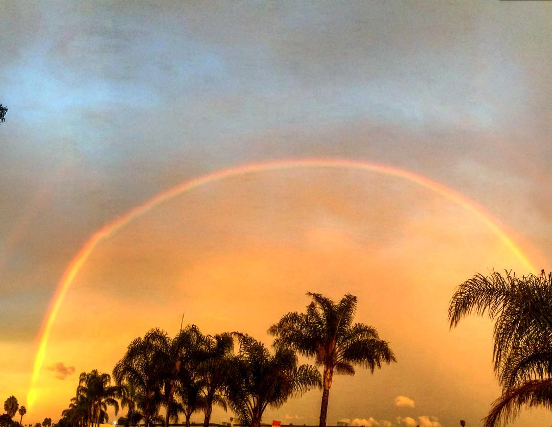 This rainbow happened last night when we left the office in #oceanside , CA. It appeared to be a perfect arch to the naked eye, but as you can see in the photo, it was imperfect in shape. Imperfect perfection.