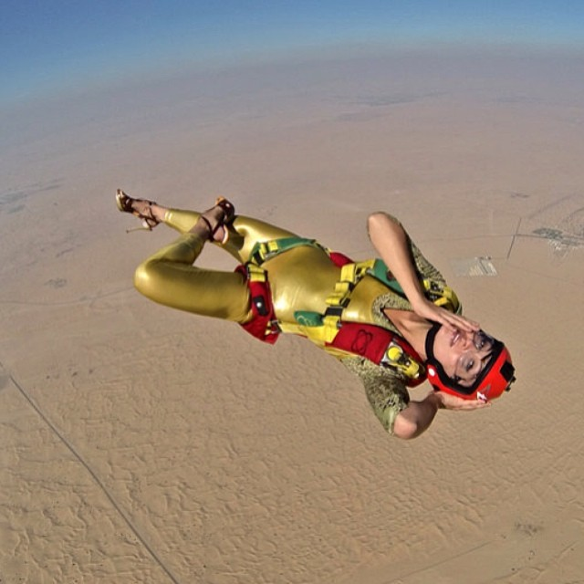 High fashion. BASE jumper (and model) Roberta Mancino takes flight. #BASEjump #model #fashion #runway