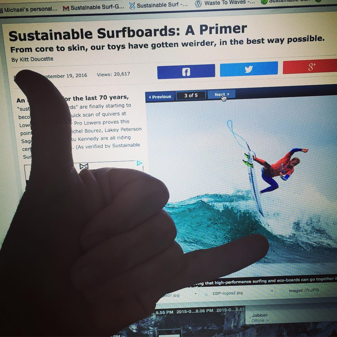Beyond #stoked to read the new @surfline feature story called Sustainable Surfboards : A #Primer , which focuses on how top pros are now packing their #quivers with #ECOBOARDS , and putting them to the test on the world stage at top @WSL events ,...