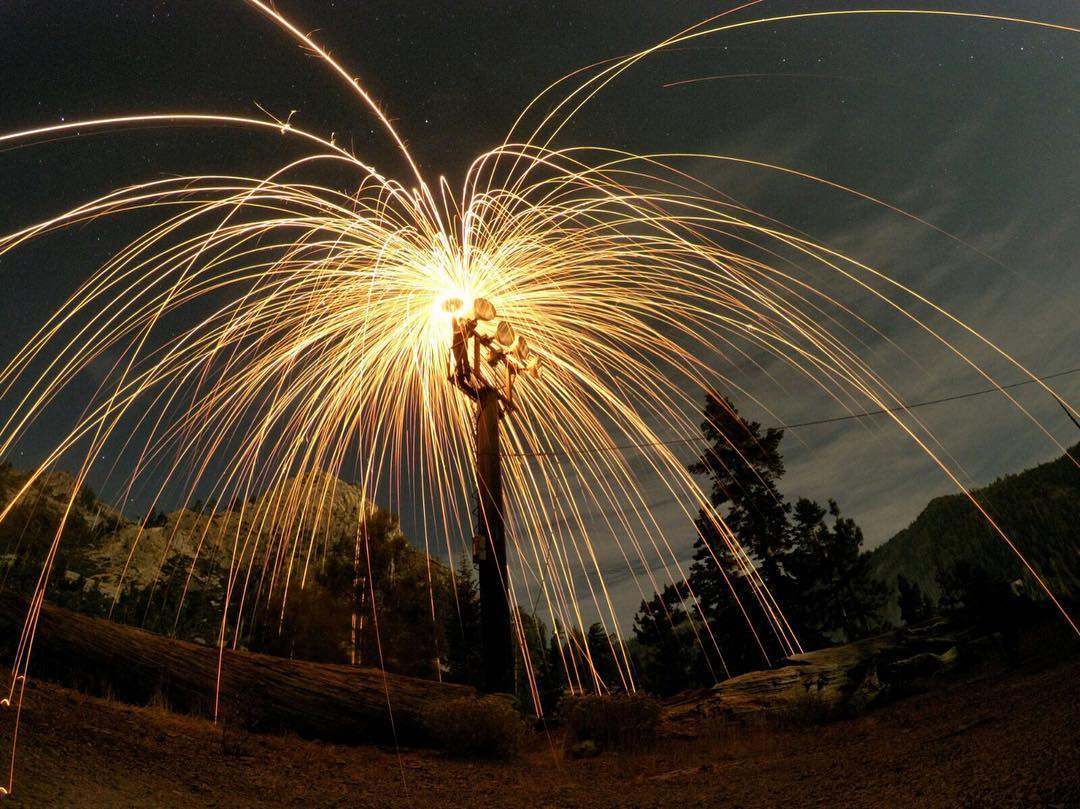 Shot in Night Lapse mode at 20 seconds on #HERO5. @snapair had a blast exploring the mountains and lighting up the night with some steel wool and a little help from his friends @micbergsma, @atomthepug, @chefyash & @j_official.