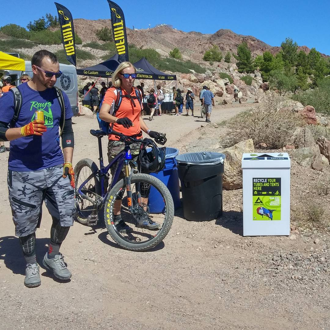 Lots of #bike tubes #upcycled at #interbike demo the past few days,  thanks for all those flats!