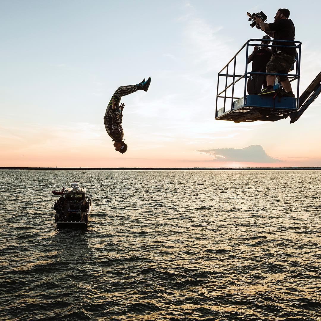 Celebratory backflip into Lake Erie after completing the very sketchy silde-at-the-edge-of-the-pier donuts in #GymkhanaNINE. That trick was one of the most nerve wracking things I have ever done in one of these videos! I was beyond stoked when I got it...