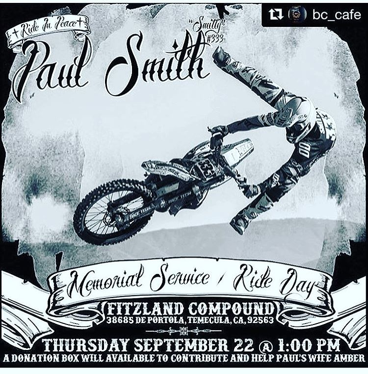 Stoked to see the celebration of @paulsmithfmx_333 life today @jfitzo riding spot !! Not stoked I can't make it to roost. Have to be at #elsinore truck races.  Any how #Godbless u all!! #fmxfamily