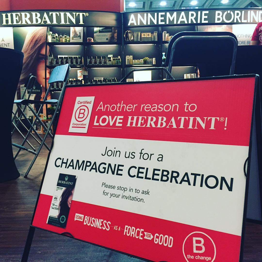 International B Corp @herbatint_haircolour will be raising a glass of champagne to celebrate its certification here at #expoeast2016 at 3pm booth 3817 ... Join us and the first hair coloring company to join the family of companies using business as a...