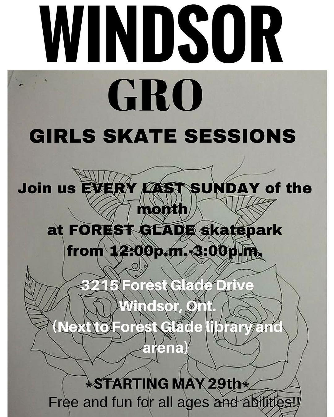 Come shred with he Windsor GRO crew this Sunday at Forest Glade Skatepark