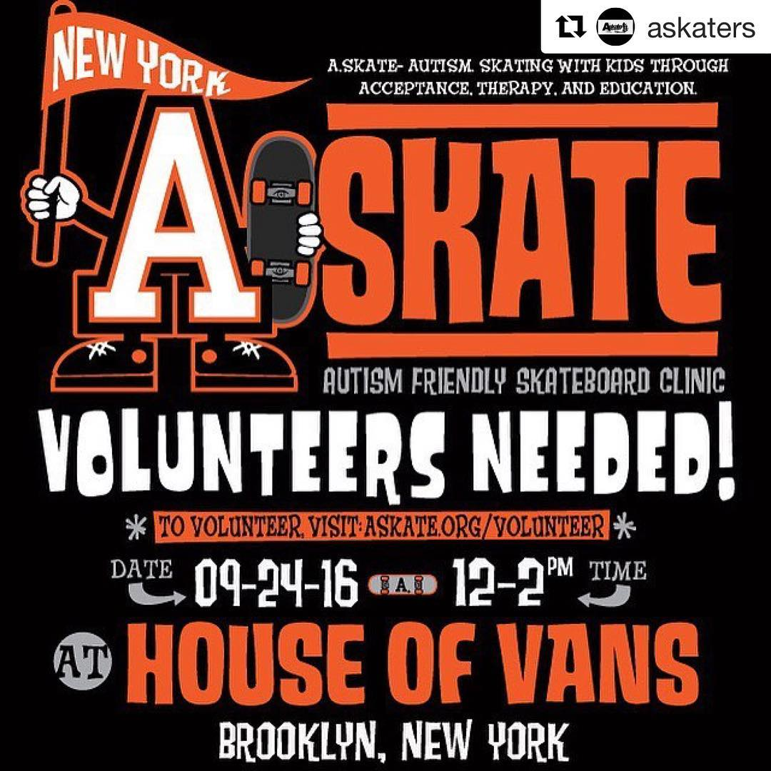 Last call for volunteers to come out tomorrow to the Askate event at the House of Vans in Brooklyn, NY!! 12pm-2pm!! Spread the word and come see us!! #askate ・・・ #skateboarding #autism #autismawareness #VamsAskate #BK #Brooklyn #ny #nyc