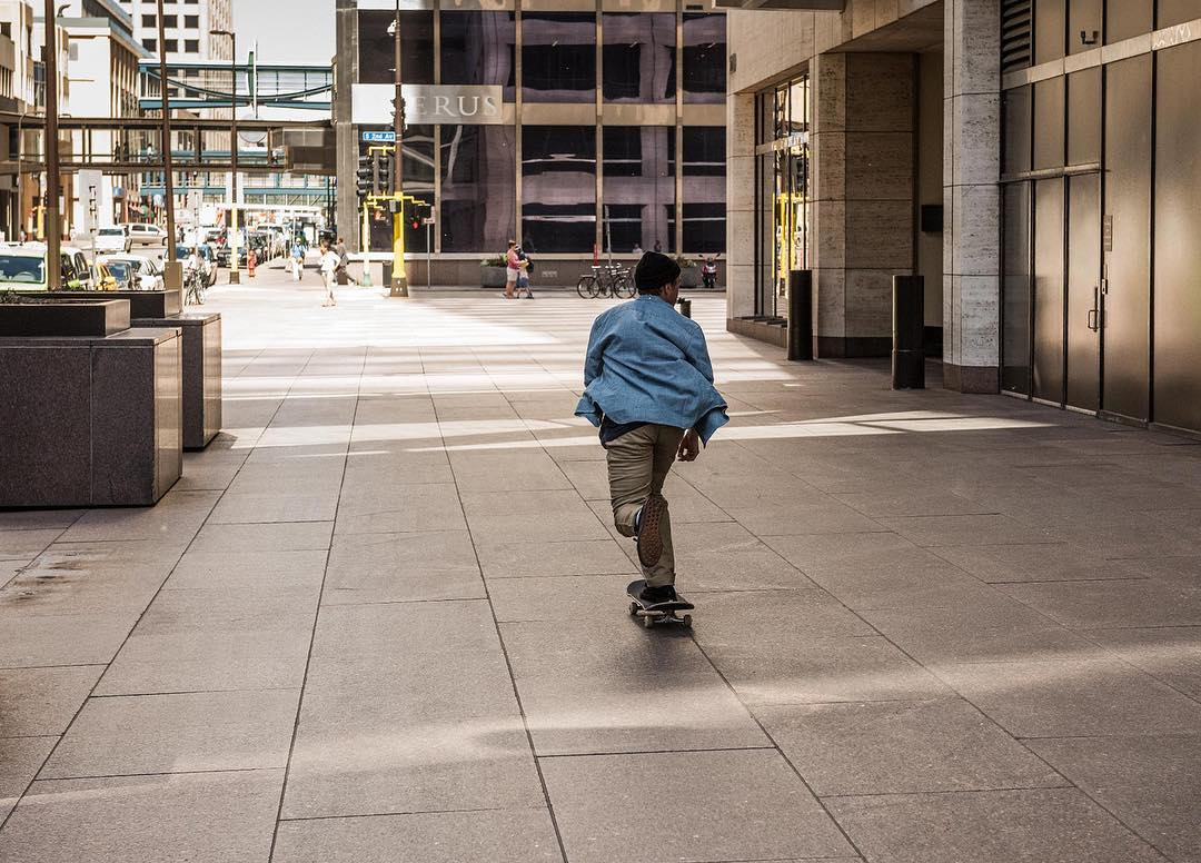 The streets of downtown Minneapolis. Davis skating in the Arrowood long sleeve, Worker Straight chinook, and Evan Smith S. DC Defined by @davistorgerson, Fall 2016. dcshoes.com/dcxdavis #dcshoes #dcdefinedby
