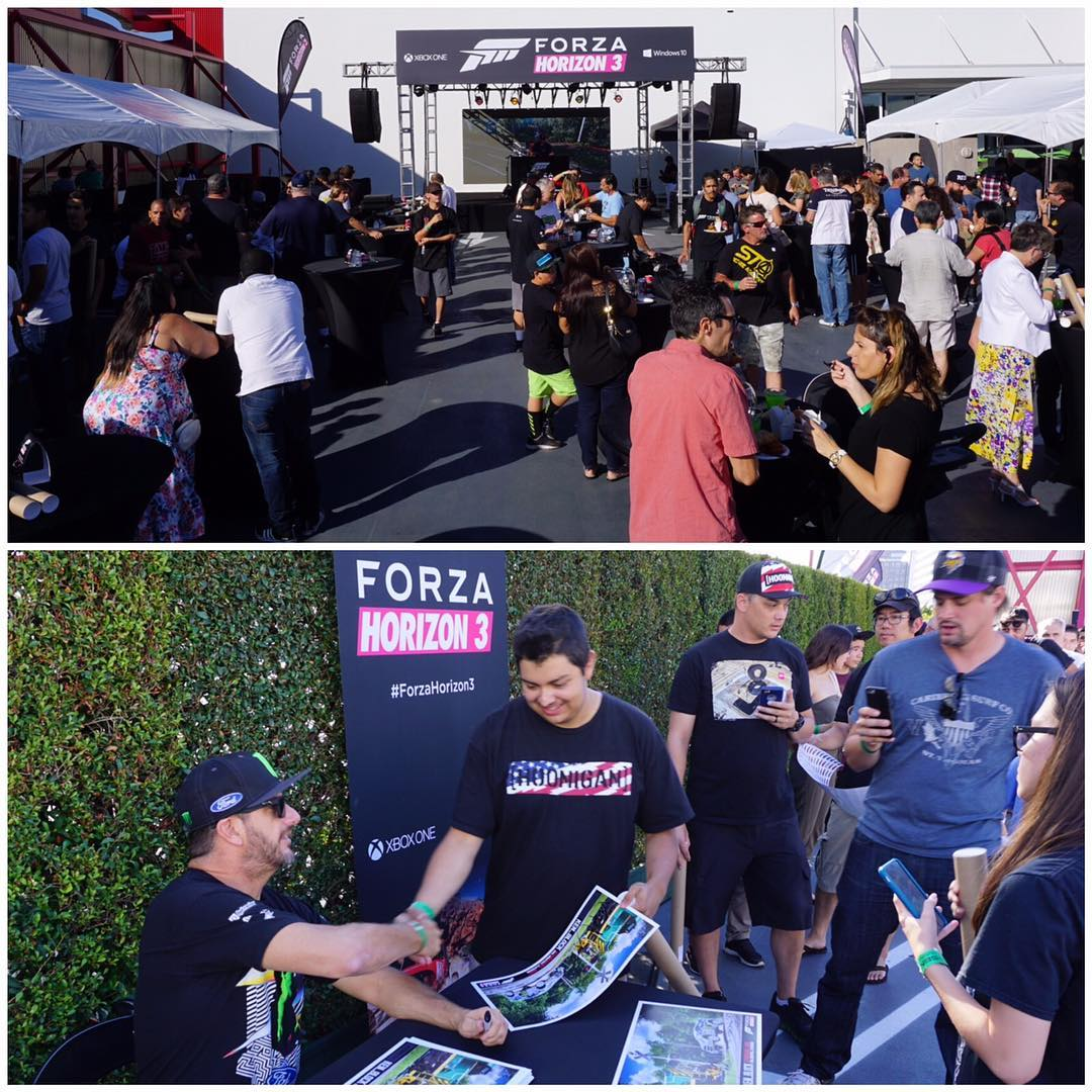 Signed some autographs for the 600 lucky fans that managed to snag tickets to this exclusive Forza Horizon 3 event here at The Petersen Museum today. Even saw some fans here in Hoonigan gear! Thanks for putting on a great event! #ForzaHorizon3 #Xbox...